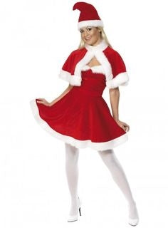 Adult Womens Christmas Miss Mrs Santa Fancy Dress Costume Dress Hat & Cape ONLY £7.99!!