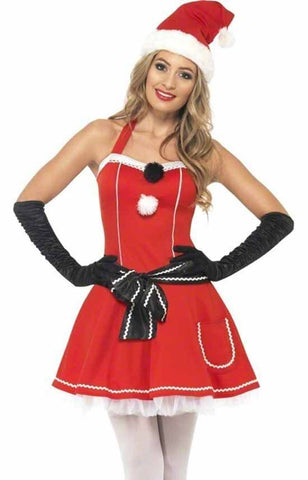Adult Womens Christmas Pom Pom Miss Mrs Santa Fancy Dress Costume Dress Hat & Belt ONLY £7.99!!