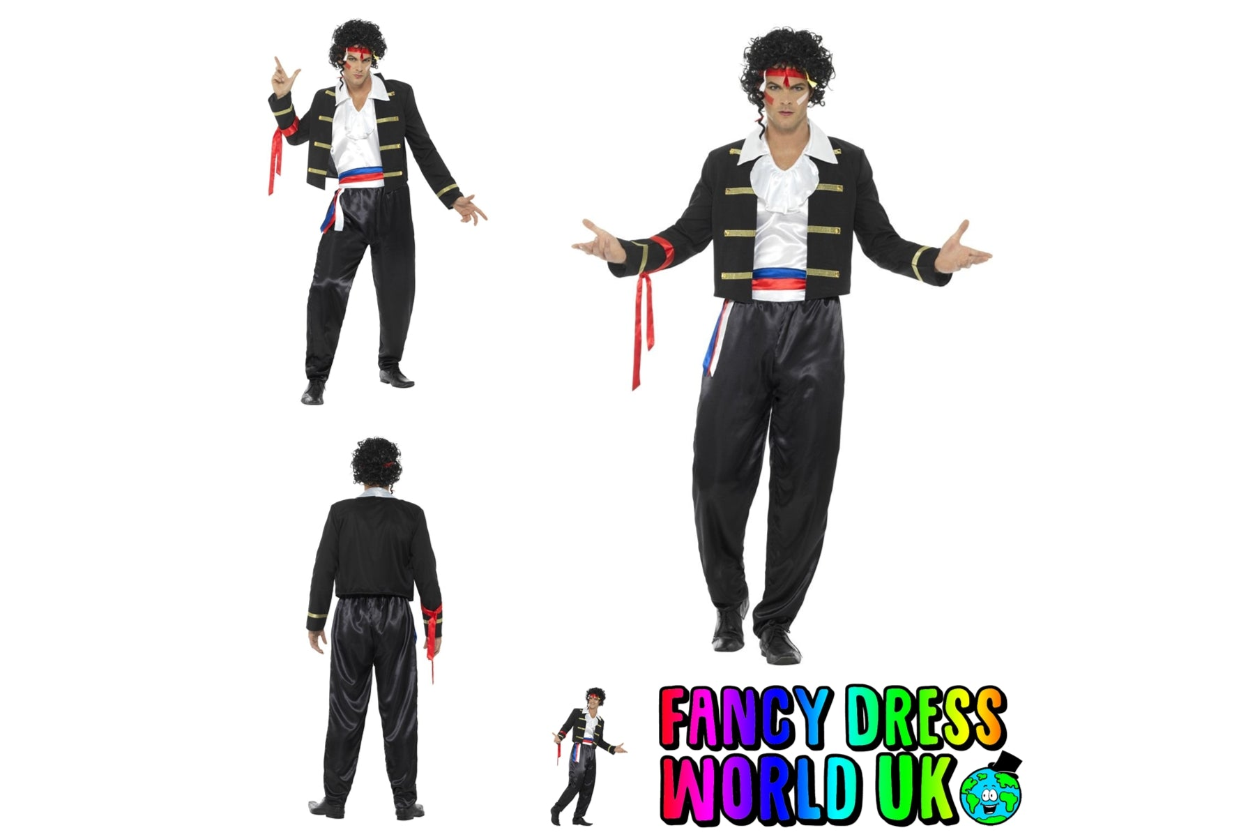 Adult Mens 80's New Romantic Adam Ant Fancy Dress Costume (Medium)