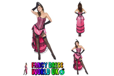 Adult Womens Can Can Diva Burlesque Fancy Dress Costume (Large)