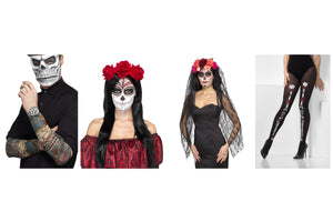 Mens Womens Day of The Dead Halloween Festival Voodoo Gothic Costume Accessories Rose Headbands Veils Tights Tattoo Sleeve
