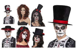 Mens Womens Day of The Dead Halloween Festival Gothic Hat and Wig Accessories