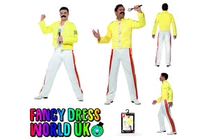 Adult Male Queen Freddie Mercury 80's Live Aid Fancy Dress Costume