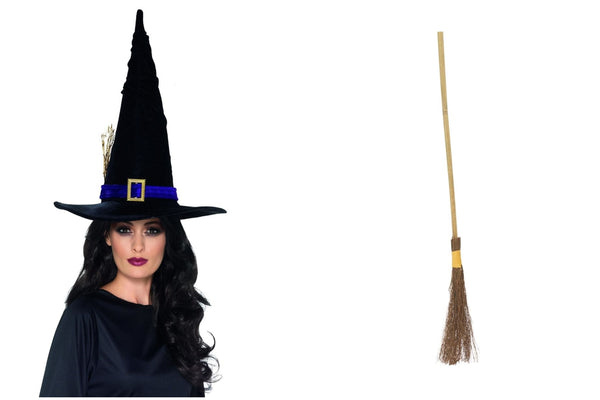 Witch Kit Hat Black with Blue Belt and Witches Broom for Adults and Kids Halloween Party Fun