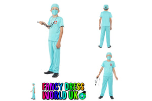 Kids Surgeon Scrub Nurse Fancy Dress Costume (Medium)
