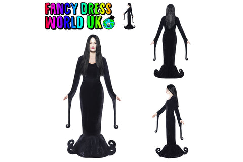Womens Morticia Addams Duchess of The Manor Fancy Dress Costume (Medium & Small)