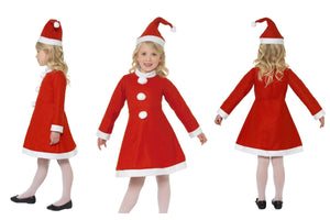 Girls Childrens Miss Santa Christmas Fancy Dress Costume Dress and Hat