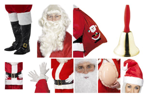 Fancy Dress World Essential 9pc Father Christmas Santa Yuletide Grotto Accessory Kit with FREE Specs - For The Complete Santa Look
