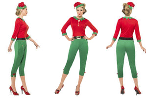 Womens Adult Santa's Little Helper Elf Christmas Fancy Dress Costume
