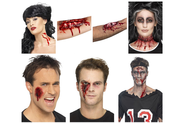 Halloween Fake Wounds and Scars Make Up Kit Inc Blood Broken Bones and Zip Faces