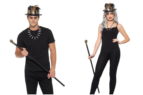 Halloween Fancy Dress Voodoo Witch Doctor Accessories Kit Hat Cane and Necklace