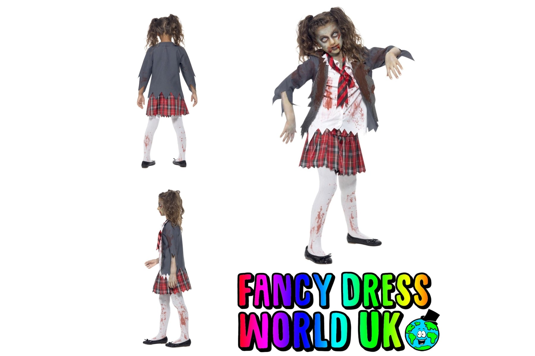 Zombie Halloween Schoolgirl Fancy Dress Costume (Teen 12+)