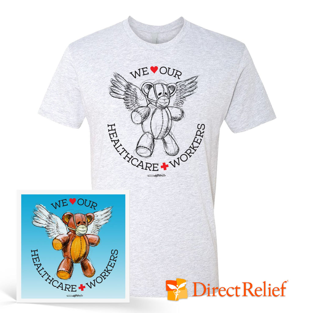 WE HEART OUR HEALTHCARE WORKERS Medi-Teddy Print and T-Shirt Bundle - Derek Hess