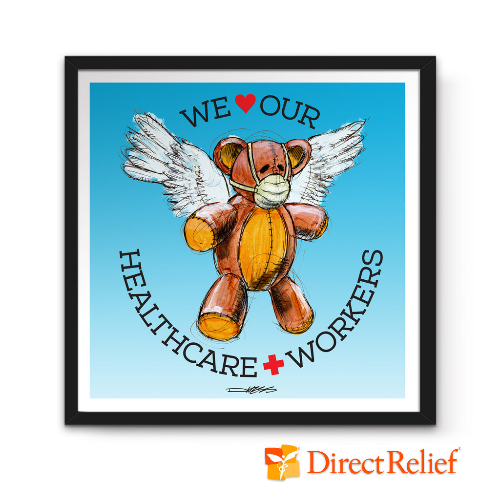 We Heart Our Healthcare Workers Medi-Teddy Print - Derek Hess