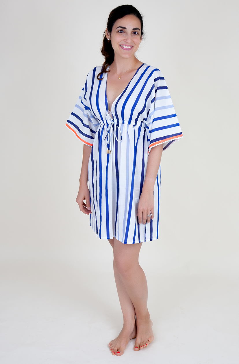 Blue and White Stripe cover up with neon trim and crochet detail