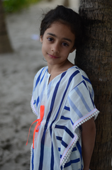 Blue and White stripe kids cover up with neon trim