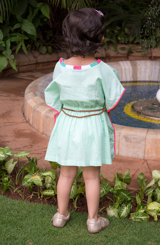 Embroidered Mint Kaftan (Kids)