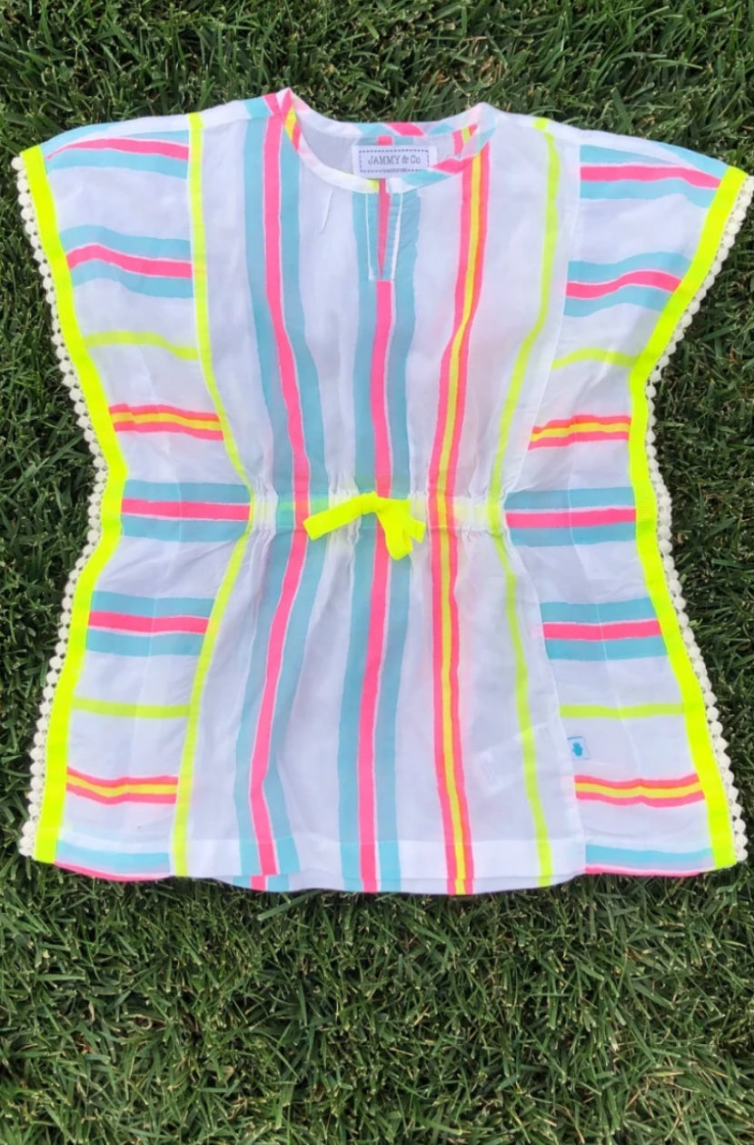 Neon stripe cover up kids kaftan