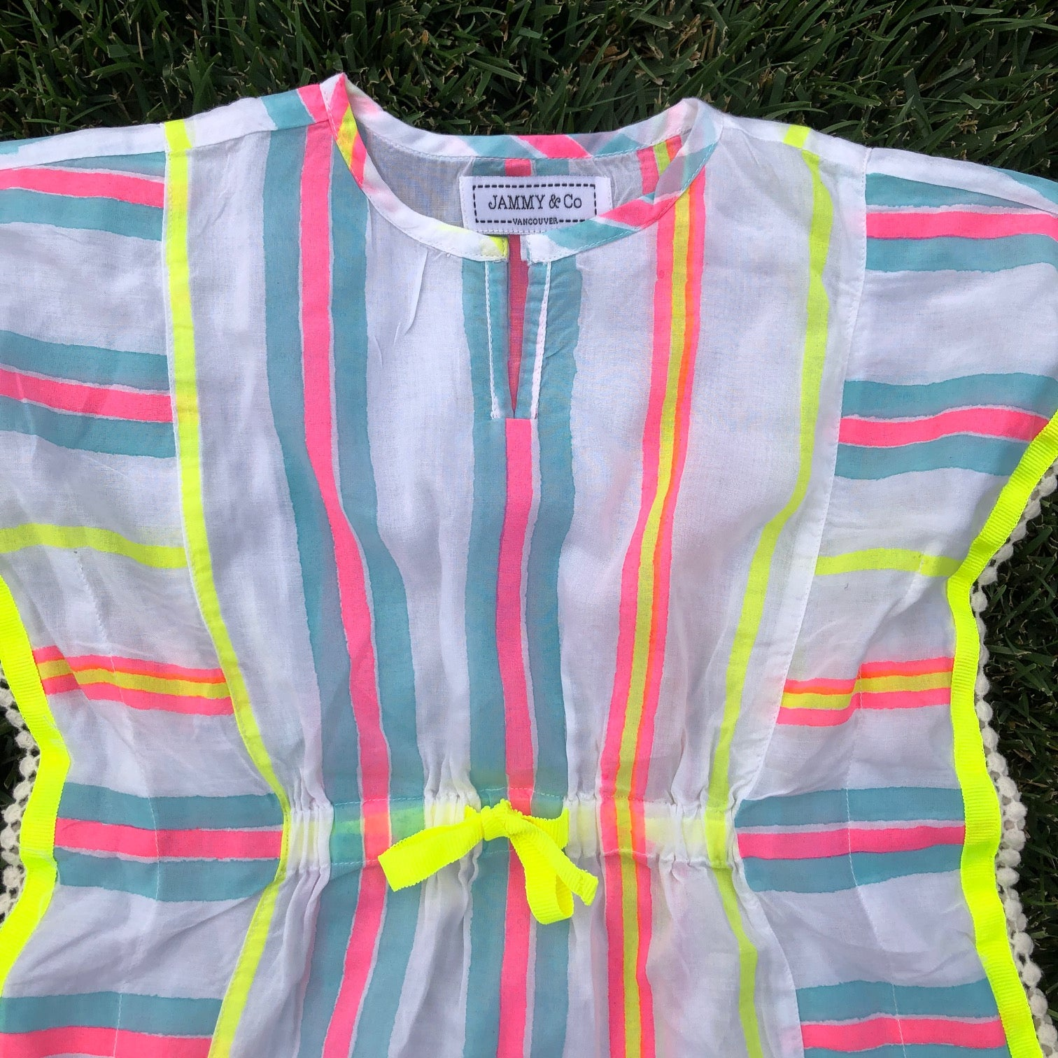 Neon stripe beach cover up kids kaftan