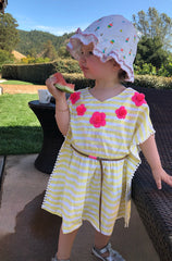 Yellow and White stripe kids Kaftan with Pink Flower embroidery and leather belt