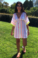 Neon stripe cover up adult dress
