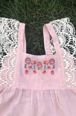 Pink kids dress with embroidery and hand made lace
