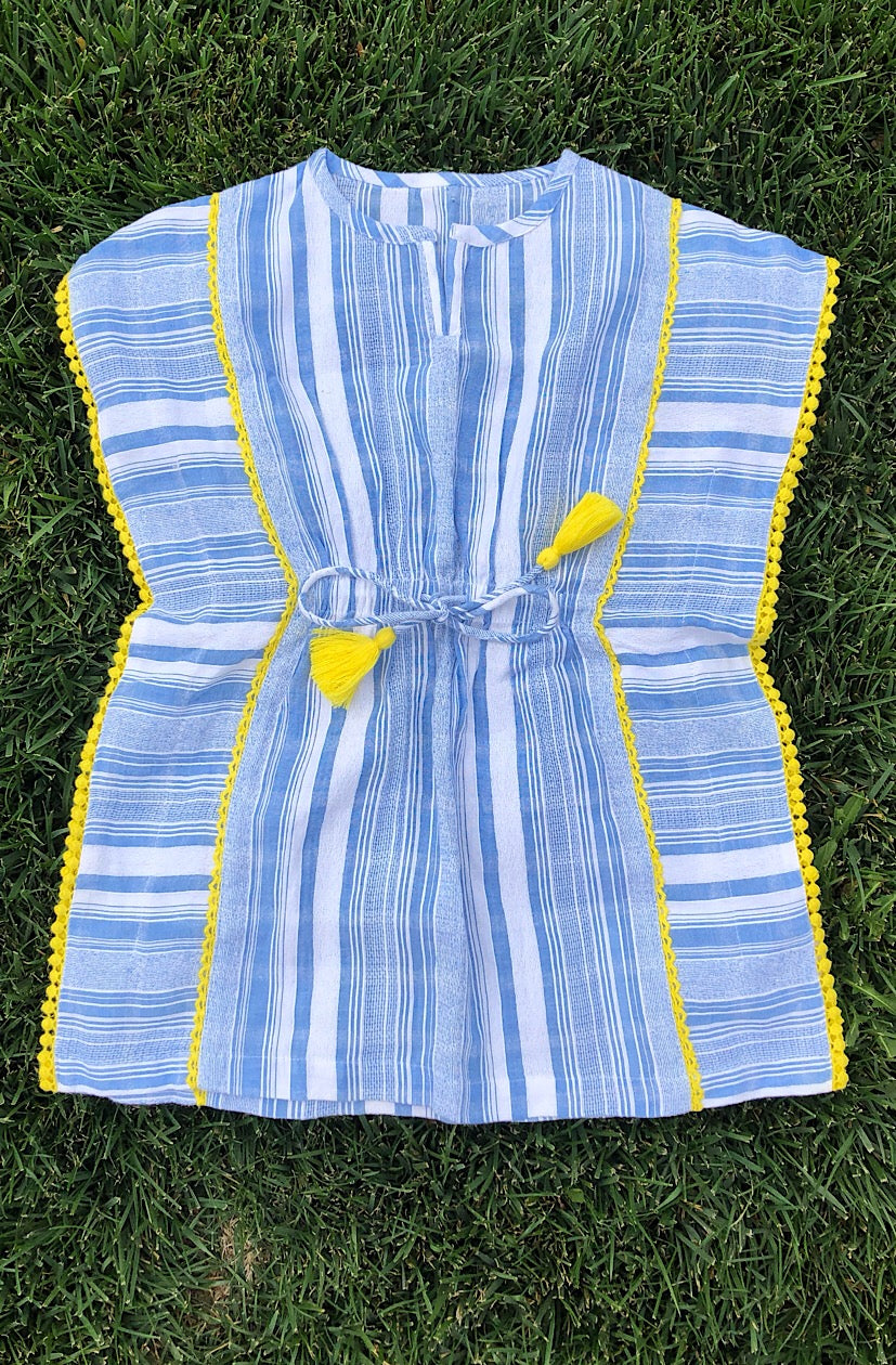 Blue and White Stripe Kids Kaftan with yellow crochet and tassels