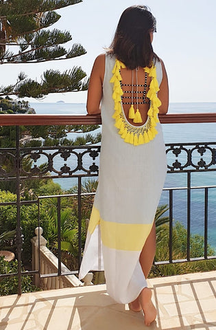 Backless Linen Beach Dress with hand tied tassels in blue white and yellow