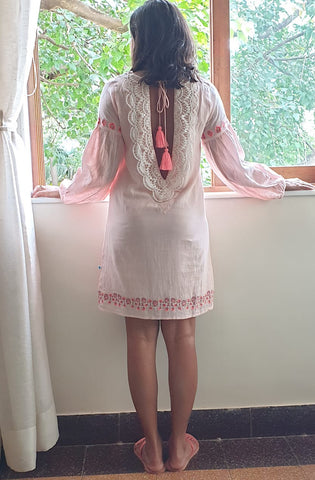 Pale Pink Backless beach dress with neon embroidery and crochet detail