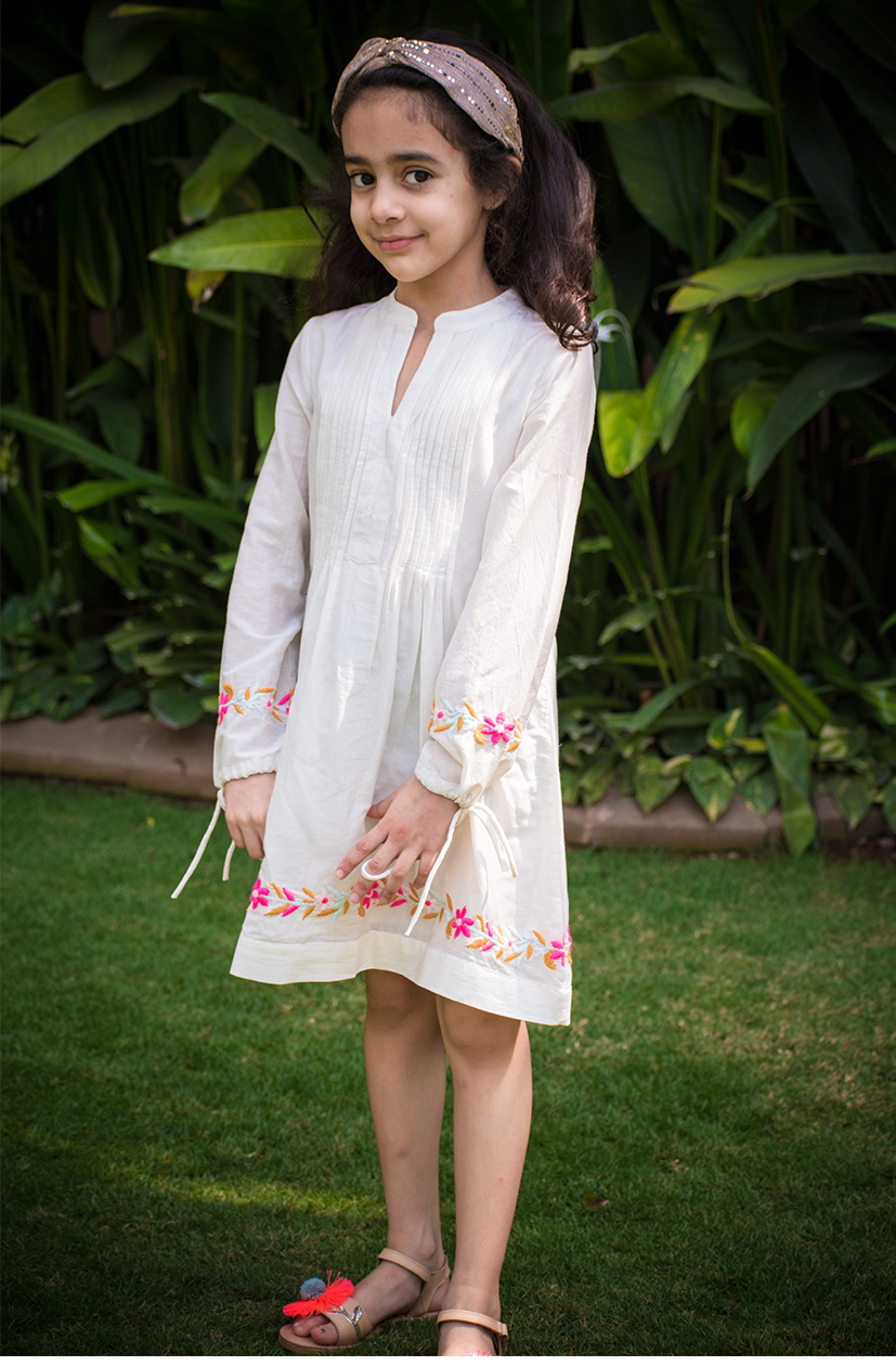 Embroidered Kurta style kids dress made from the finest silk cotton