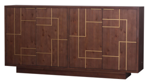 "Hanover Sideboard Brown Finish w/ Gold 40"" x 16"" x 80"" - 13 Hub Lane   