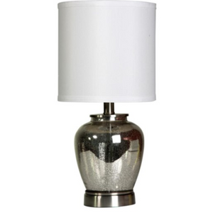 058-Table Lamp - Silver Mercury Glass - 13 Hub Lane - Style Craft Table Lamp type_Lighting Type_Table Lamp
