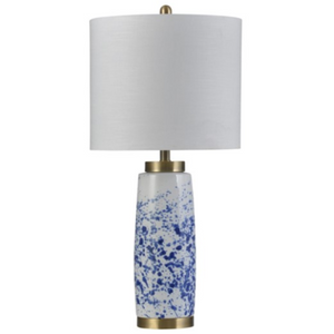 058-Table Lamp - Splatter Blue/Ceramic & Steel - 13 Hub Lane - Style Craft Table Lamp type_Lighting Type_Table Lamp