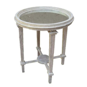 Mirror Top / Wooden Side Table - 13 Hub Lane   |  Side/Accent Table