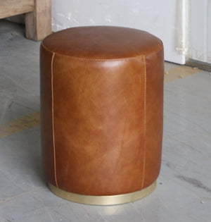 Small Leather Pouf - 13 Hub Lane   |