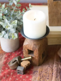 Square Wooden Furniture Leg Candle Holder