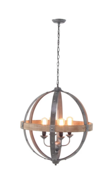 Modern Iron And Fir Wood Sphere Pendant Lamp