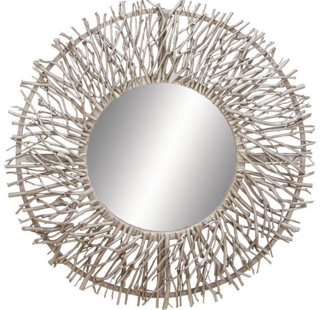 "Wall Mirror UMA Wood Silver Round 31"" - 13 Hub Lane   