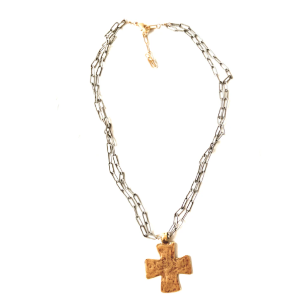 CV Designs Block Cross Necklace