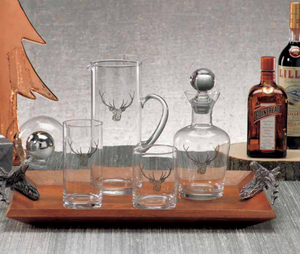 Stag Head Design Glassware - 13 Hub Lane   |  Drinkware