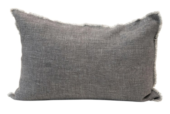 "Grey Lumbar Pillow w/ Frayed Edges 24""L x 16""H - 13 Hub Lane   