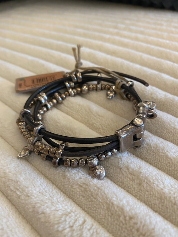 Leather Bracelet with Silver Clad