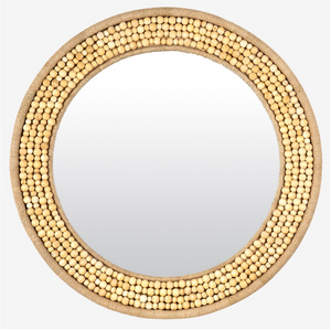 Shae Wood Bead Mirror - 13 Hub Lane   |  Mirror