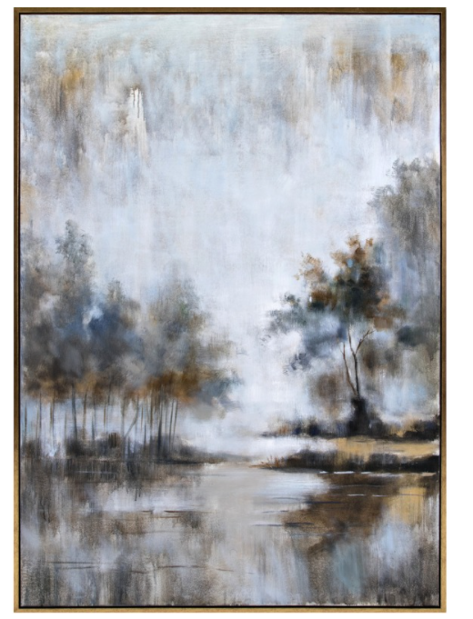 Neutral Haze Framed Oil Painting