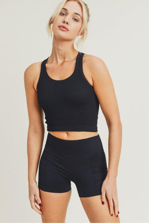Ribbed Essential Cropped Racerback Tank
