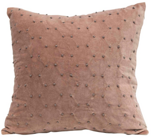 French Knot Velvet Pillow - 13 Hub Lane   |  Decorative Pillow