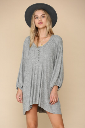 Brush Ribbed Tunic Top