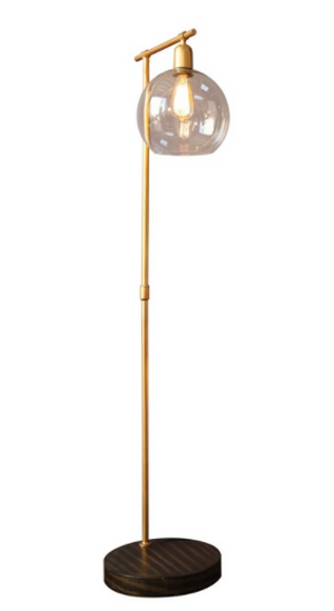 Metal and Wood Floor Lamp