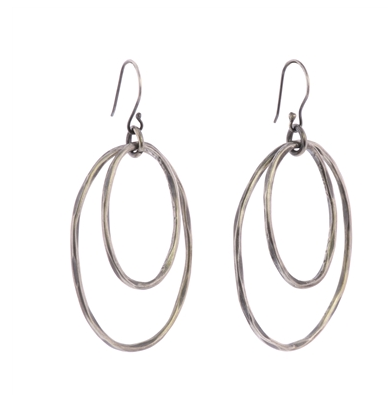 Gemini Oval Earrings, Silver