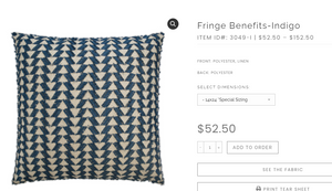 Fringe Benefits Pillow Special Order - 13 Hub Lane   |  Decorative Pillow
